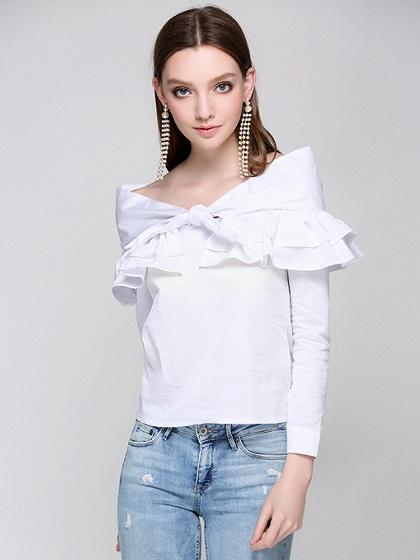 White Bow Tie Ruffle Detail Long Sleeve Blouse