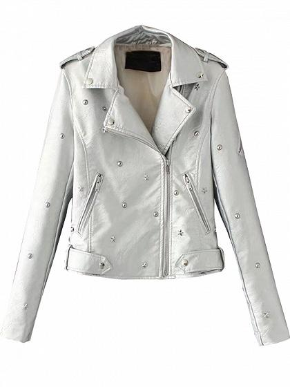 Silver Stud Detail Leather Look Biker Jacket