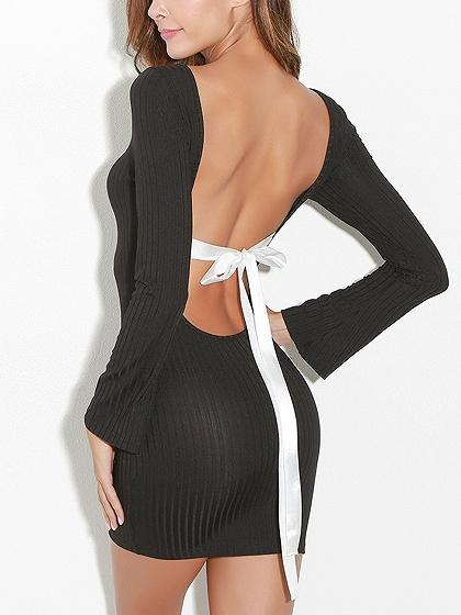 Black Bow Tie Detail Long Sleeve Backless Bodycon Mini Dress
