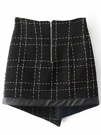 Black PU Panel Asymmetric Hem Wool Blend Mini Skirt