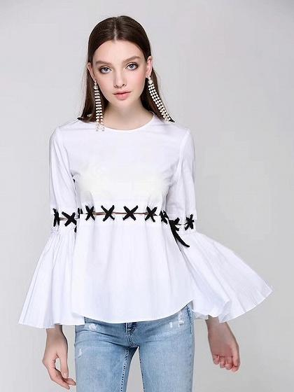 White Lace Up Cut Out Detail Falre Sleeve Blouse