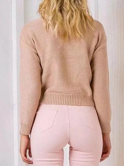 Beige V-neck Lace Up Long Sleeve Knit Sweater