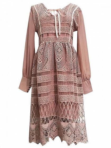 Pink Tie Front Embroidery Cut Out Lace Panel Long Sleeve Dress