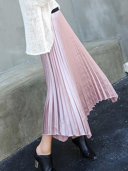 Pink High Waist Asymmetric Hem Pleated Midi Skirt