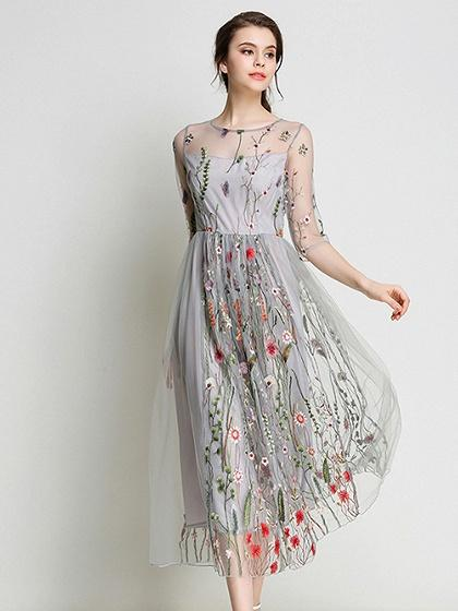 Gray Embroidery Floral Sheer Mesh Midi Dress – chiclookcloset ac8e342a2561