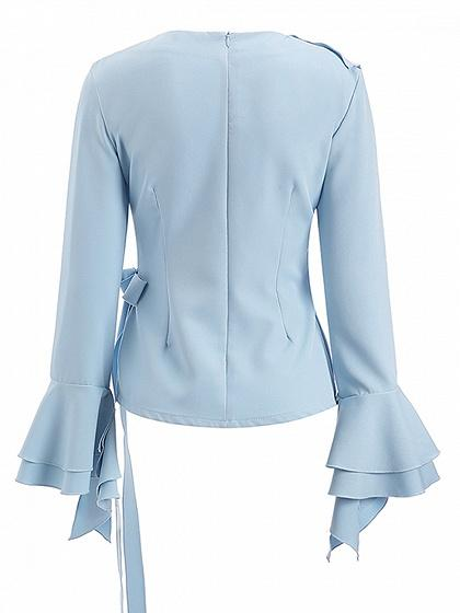 Blue V-neck Ruffle Detail Bow Tie Side Flare Sleeve Blouse