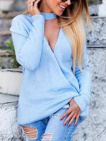 Blue Plunge Long Sleeve Knit Sweater