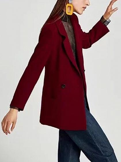 Red Lapel Button Front Long Sleeve Blazer