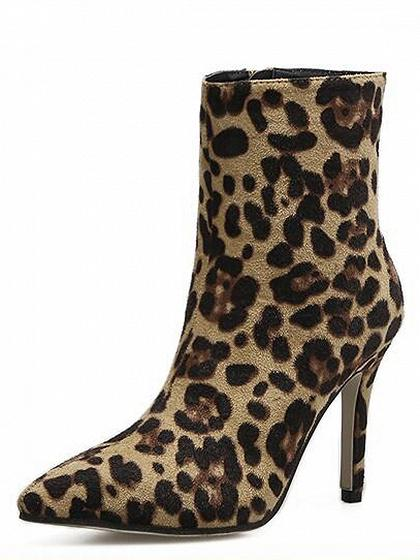 Leopard Pointed Ankle Boots