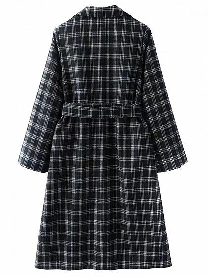 Black Lapel Gingham Buckle Belt Detail Longline Trench Coat