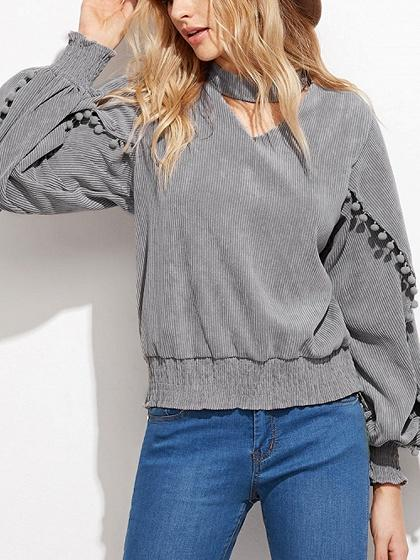 Gray Choker V-neck Pom Pom Ruched Trim Puff Sleeve Sweatshirt