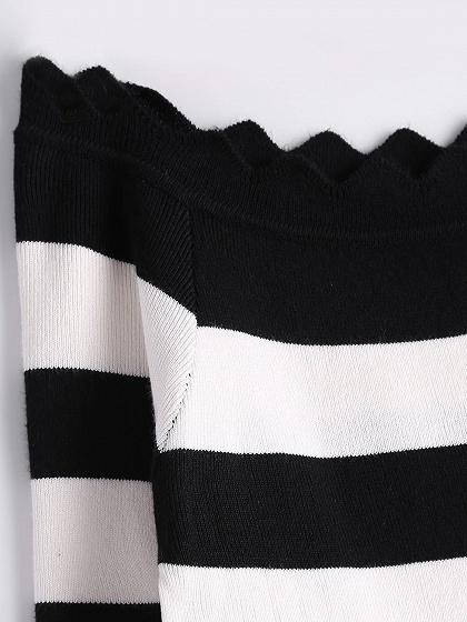 Monochrome Stripe Off Shoulder Asymmetric Trim Knit Sweater