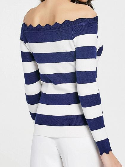 Blue Stripe Off Shoulder Asymmetric Trim Knit Sweater