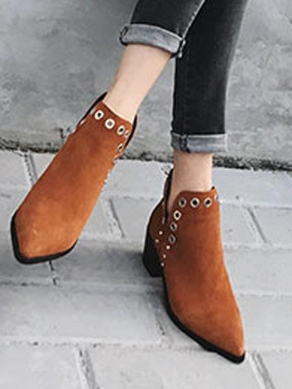 Brown Faux Suede Eyelet Detail Pointed Ankle Boots
