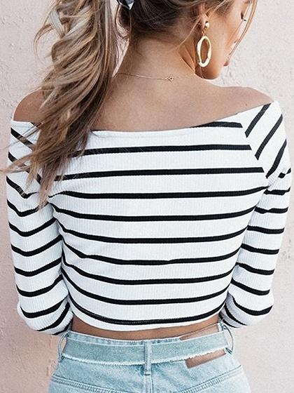 Monochrome Stripe Plunge Long Sleeve Crop T-shirt