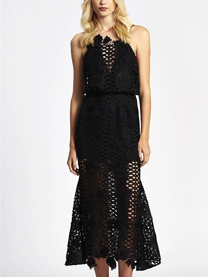 Black Cut Out Spaghetti Strap Backless Lace Midi Dress