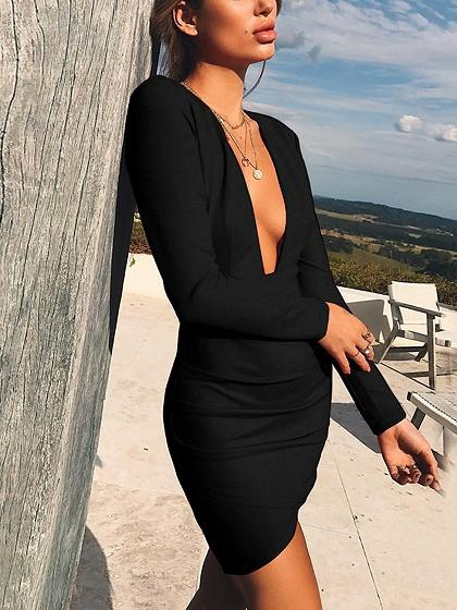 Black Deep V-neck Backless Long Sleeve Bodycon Mini Dress