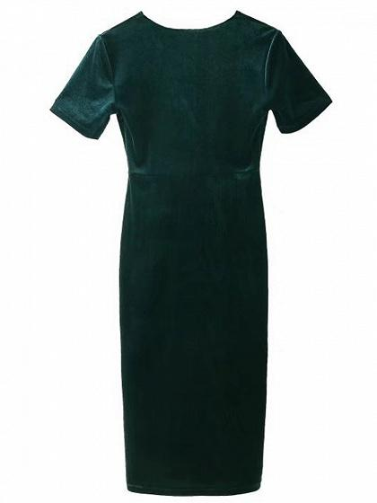 Dark Green Velvet V-neck Short Sleeve Bodycon Dress