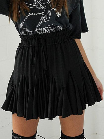 Black High Waist Mini Skater Skirt