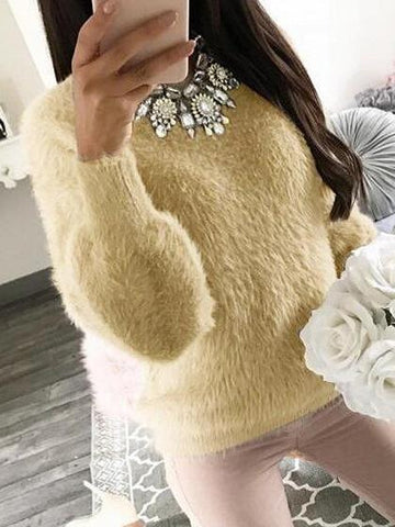 Khaki Faux Fur Long Sleeve Sweatshirt