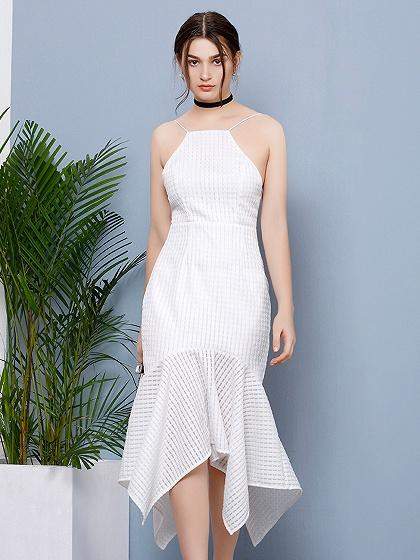 White Spaghetti Strap Lace Up Open Back Asymmetric Hem Dress