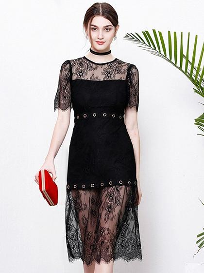 Black Eyelet Detail Asymmetric Hem Sheer Lace Midi Dress