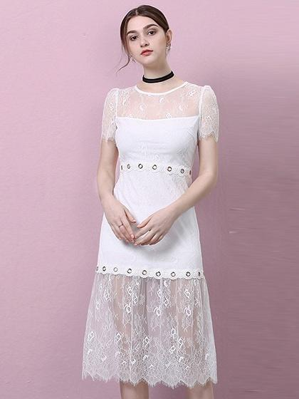 White Eyelet Detail Asymmetric Hem Sheer Lace Midi Dress