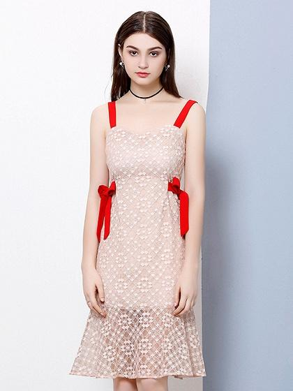 Nude Contrast Bow Tie Side Lace Panel Shoulder Strap Dress