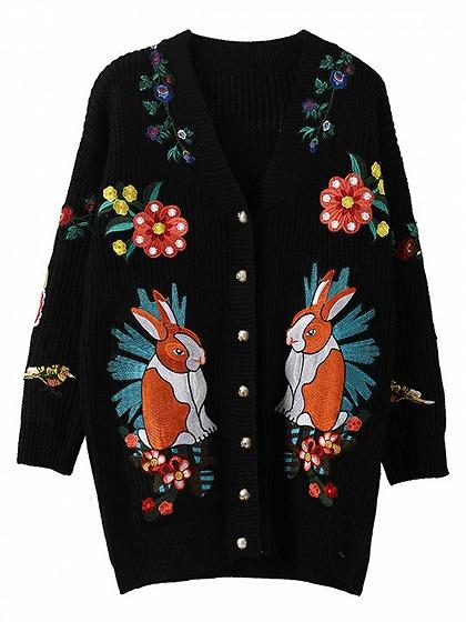 Black Embroidery Button Placket Long Sleeve Cardigan