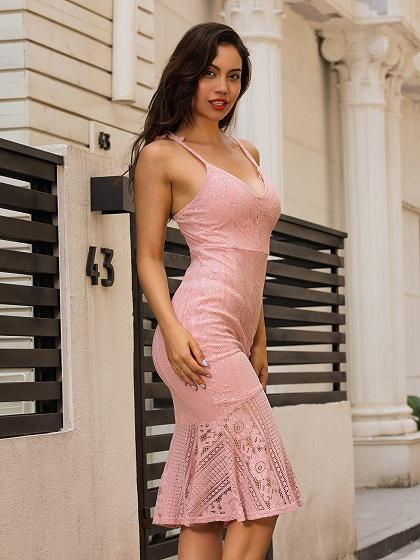 Pink V-neck Pephem Bodycon Midi Lace Dress