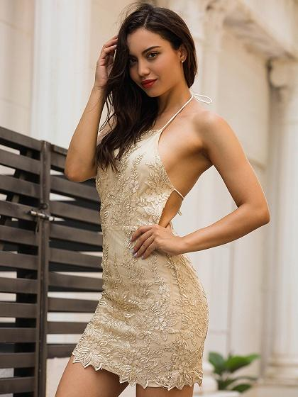 Golden Halter Embroidery Backless Bodycon Mini Dress