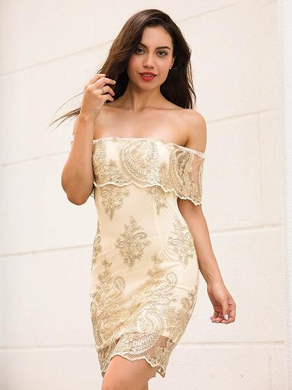 Golden Off Shoulder Embroidery Bodycon Mini Dress