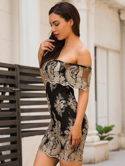 Black Off Shoulder Embroidery Bodycon Mini Dress