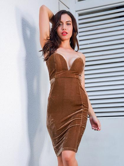 Brown Bandeau V-neck Velvet Bodycon Mini Dress