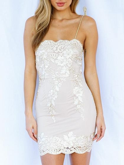 White Embroidery Spaghetti Strap Bodycon Mini Dress