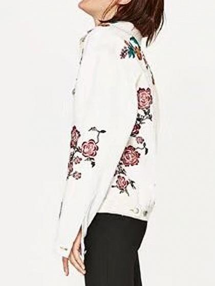 White Embroidery Floral Detail Denim Jacket