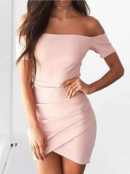 Pink Off Shoulder Ruched Detail Bodycon Mini Dress