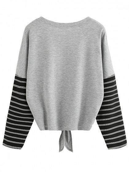 Gray Contrast Stripe Knot Front Print Detail Long Sleeve T-shirt