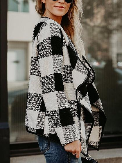 Black Plaid Lapel Open Front Long Sleeve Coat
