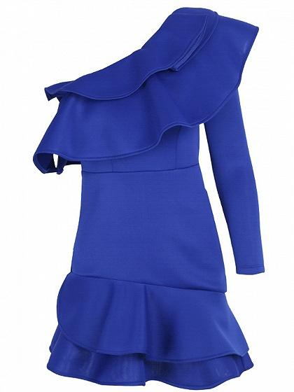 Blue One Shoulder Ruffle Trim Mini Dress