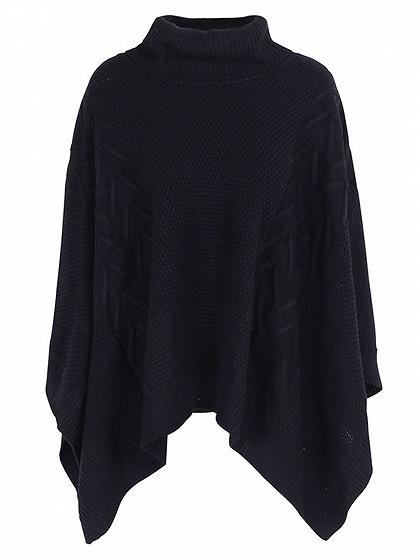 Black High Neck Batwing Sleeve Knit Sweater