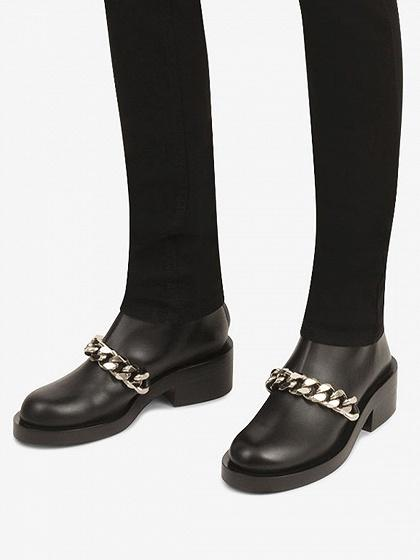 3920ef0cdcb Black Leather Chain Detail Ankle Boots