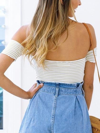 Beige Stripe Off Shoulder Tie Front Crop Top