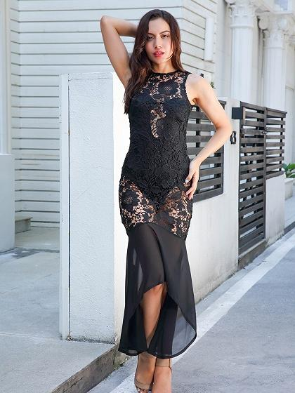 Black Sheer Lace Panel Pephem Bodycon Dress