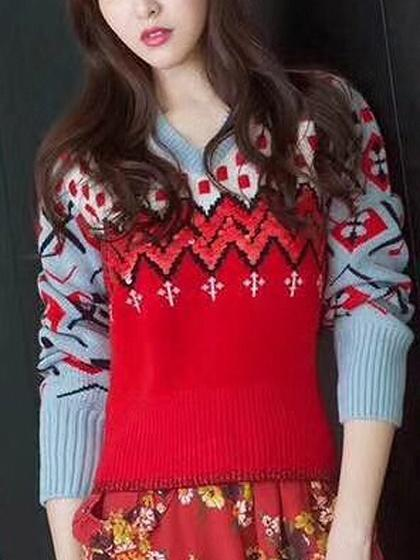 Color Block V-neck Long Sleeve Knit Sweater