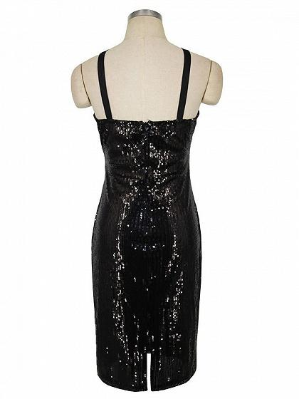 Black Sequin Detail Bodycon Mini Dress