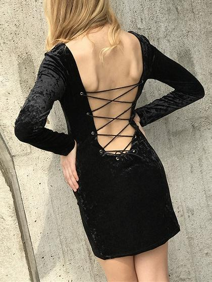 Black Velvet Lace Up Back Long Sleeve Mini Dress
