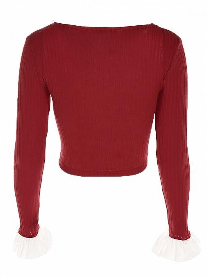 Red V-neck Knot Front Ruffle Long Sleeve Rib Crop Top