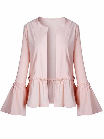Pink Open Front Ruched Trim Flare Sleeve Coat