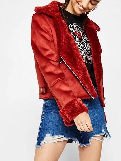 Red Lapel Faux Shearling Lining Biker Jacket